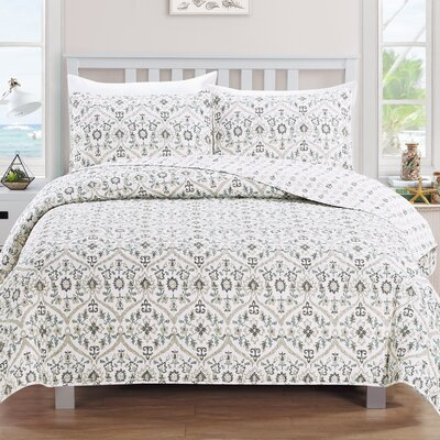 Cassandra Reversible Quilt Set Size: Twin, Color: Flax