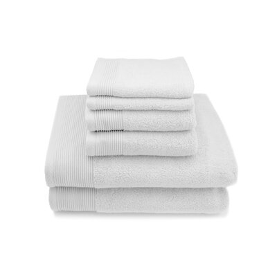 Lavante Luxury 100% Zero Twist Cotton 6 Piece Towel Set Color: White