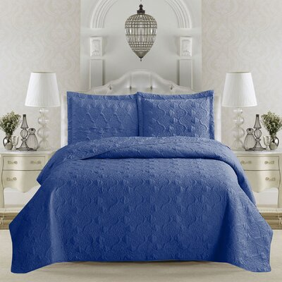 Rossa Quilt Set Size: Full/Queen, Color: Navy