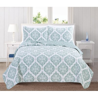 Arabesque Reversible Quilt Set Color: Mineral Blue, Size: King