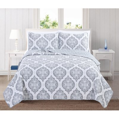 Arabesque Reversible Quilt Set Size: Twin, Color: Gray