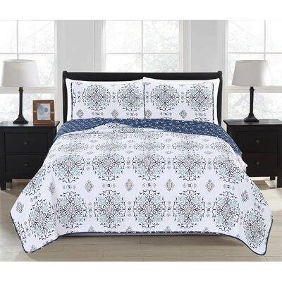 Portia Reversible Quilt Set Color: Navy, Size: Full/Queen