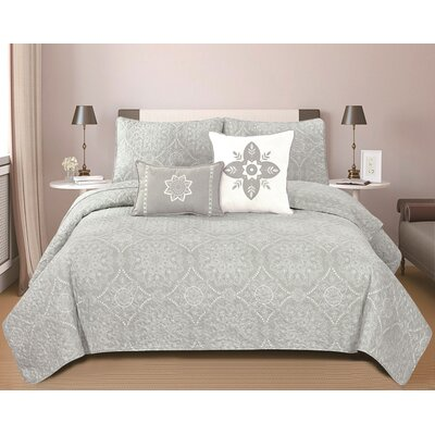 Kiara 5 Piece King Reversible Quilt Set Color: Dawn Gray