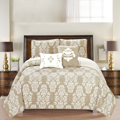 Josie Reversible Quilt Set Size: Twin, Color: Natural