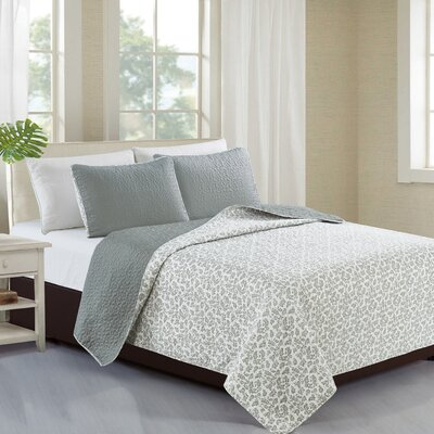 Kyla Reversible Quilt Set Size: King, Color: Drizzle Gray