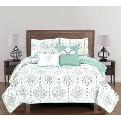 Cassidy 5 Piece Reversible Quilt Set Size: Full/Queen, Color: Harbor Gray