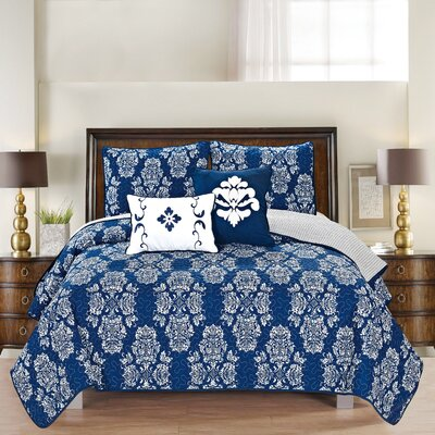 Josie Reversible Quilt Set Size: Twin, Color: Navy