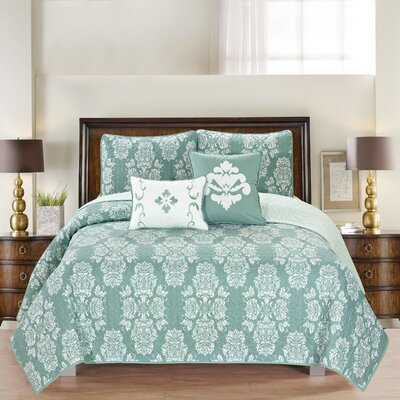 Josie Reversible Quilt Set Size: Twin, Color: Ether Blue