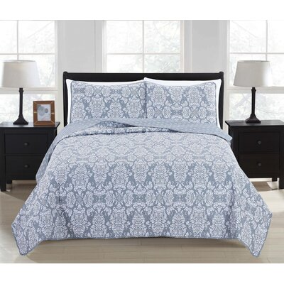 Isabel Reversible Quilt Set Size: King, Color: High Rise Gray