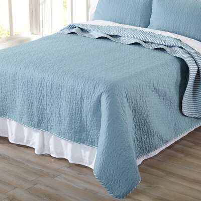 Jasmine Quilt Set Size: Full/Queen, Color: Blue