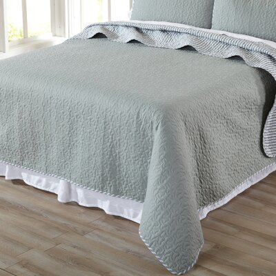 Jasmine Quilt Set Size: Twin, Color: Gray