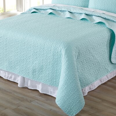 Jasmine Quilt Set Size: King, Color: Seagreen