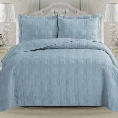Terra Quilt Set Size: Full/Queen, Color: Ether Blue