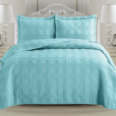 Terra Quilt Set Size: King, Color: Seaspray