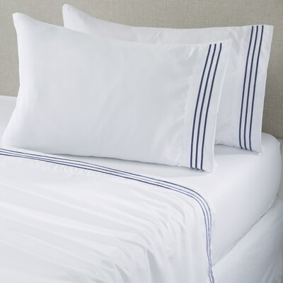 Damascus Microfiber Sheet Set with Embroidery Size: King, Color: White/Navy
