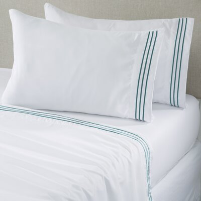 Damascus Microfiber Sheet Set with Embroidery Size: King, Color: White/Nile Blue
