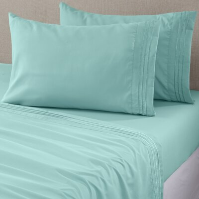 Damascus Microfiber Sheet Set with Embroidery Size: King, Color: Seaspray