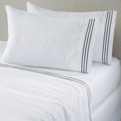 Damascus Microfiber Sheet Set with Embroidery Size: Twin, Color: White Pewter