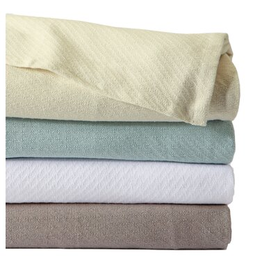 Amienne Premium 100% Cotton Luxury Bed Blanket with Elegant Weave Size: Twin, Color: Ivory
