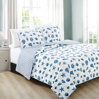 Bali Reversible Quilt Set Size: Full/Queen, Color: Blue