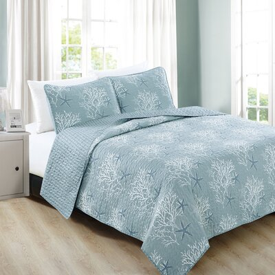 Fenwick 3-Piece Coastal Beach Theme Microfiber Quilt Set with Shams Size: Twin, Color: Ether Blue