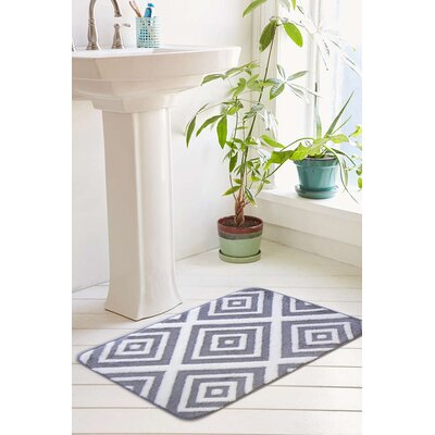 Farrah Plush Memory Foam Anti-Fatigue Jacquard Bath Rug Color: Paloma Gray, Size: 20 W x 32 L