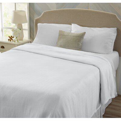 Great Bay Home Premium 100% Rayon from Bamboo Luxury Bed Blanket with Herringbone Design and Jacquard Weave Size: Ful/Queen, Color: White