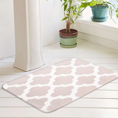 Peyton Plush Memory Foam Anti-Fatigue Jacquard Bath Rug Color: Blush Pink, Size: 20 W x 32 L
