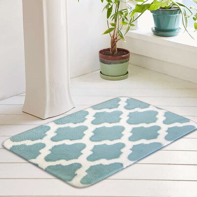 Peyton Plush Memory Foam Anti-Fatigue Jacquard Bath Rug Color: Pastel Turquoise, Size: 17 W x 24 L