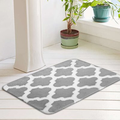 Peyton Plush Memory Foam Anti-Fatigue Jacquard Bath Rug Color: Vapor Gray, Size: 20 W x 32 L