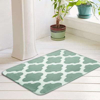 Peyton Plush Memory Foam Anti-Fatigue Jacquard Bath Rug Color: Ocean Wave, Size: 20 W x 32 L