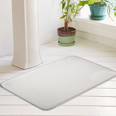 Eleanora Plush Memory Foam Anti-Fatigue Bath Rug Color: Optic White, Size: 17 W x 24 L