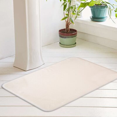 Eleanora Plush Memory Foam Anti-Fatigue Bath Rug Color: Whisper White, Size: 20 W x 32 L