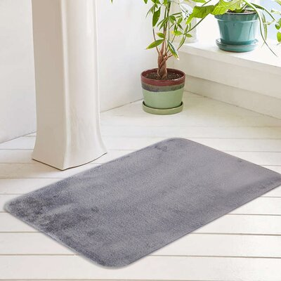 Eleanora Plush Memory Foam Anti-Fatigue Bath Rug Color: Paloma Gray, Size: 17 W x 24 L