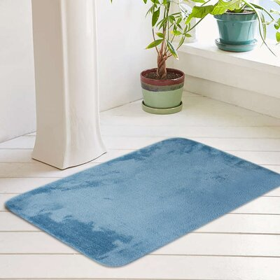 Eleanora Plush Memory Foam Anti-Fatigue Bath Rug Color: Dusty Turquoise, Size: 20 W x 32 L