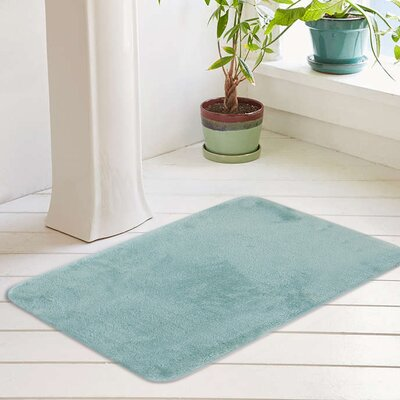 Eleanora Plush Memory Foam Anti-Fatigue Bath Rug Color: Ocean Wave, Size: 17 W x 24 L