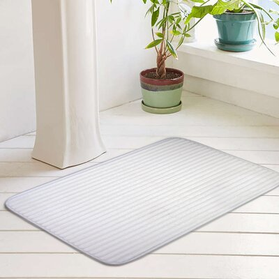 Ariana Textured Memory Foam Anti-Fatigue Bath Rug with Woven Stripe Size: 17 W x 24 L, Color: Optic White