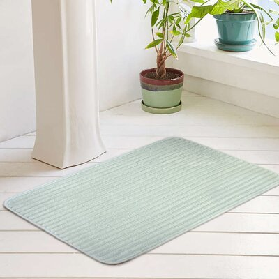 Ariana Textured Memory Foam Anti-Fatigue Bath Rug with Woven Stripe Color: Misty Blue, Size: 20 W x 32 L