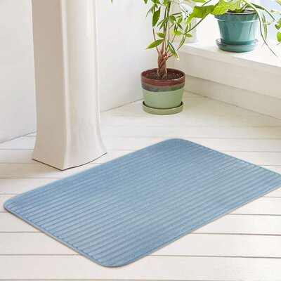 Ariana Textured Memory Foam Anti-Fatigue Bath Rug with Woven Stripe Size: 17 W x 24 L, Color: Canal Blue