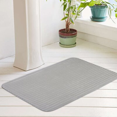 Ariana Textured Memory Foam Anti-Fatigue Bath Rug with Woven Stripe Color: Vapor Gray, Size: 20 W x 32 L