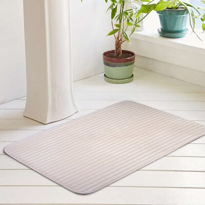 Ariana Textured Memory Foam Anti-Fatigue Bath Rug with Woven Stripe Size: 20 W x 32 L, Color: Blush Pink