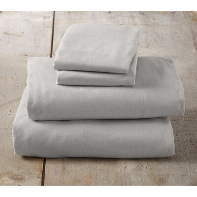 Peter Super Soft Solid Flannel Sheet Set Color: Glacier Gray, Size: Twin