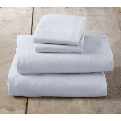 Peter Super Soft Solid Flannel Sheet Set Size: Full, Color: Pearl Blue