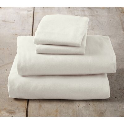 Peter Super Soft Solid Flannel Sheet Set Color: Pristine Ivory, Size: Queen