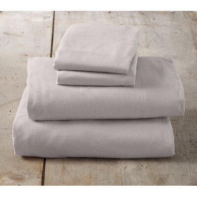 Peter Super Soft Solid Flannel Sheet Set Color: Silver Cloud, Size: Queen
