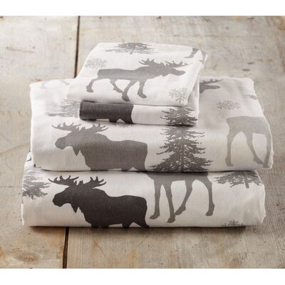 Clymer Moose Super Soft Printed Flannel Cotton Sheet Set Size: Twin