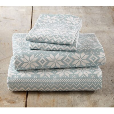Cloran Super Soft Printed Flannel Cotton Sheet Set Size: King, Color: Ether Blue