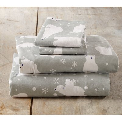 Janiya Polar Bears Super Soft Printed Flannel Cotton Sheet Set Size: Twin