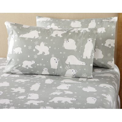Janiya Polar Bears Super Soft Printed Flannel Cotton Sheet Set Size: King