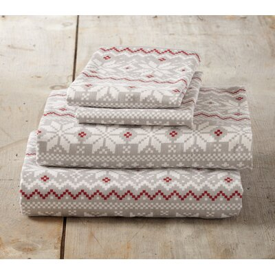 Cloran Super Soft Printed Flannel Cotton Sheet Set Size: King, Color: Gray/Red
